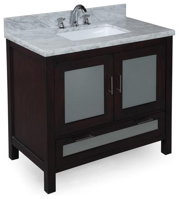 Manhattan 36-in Bath Vanity (Carrara/Chocolate) contemporary-bathroom-vanities-and-sink-consoles