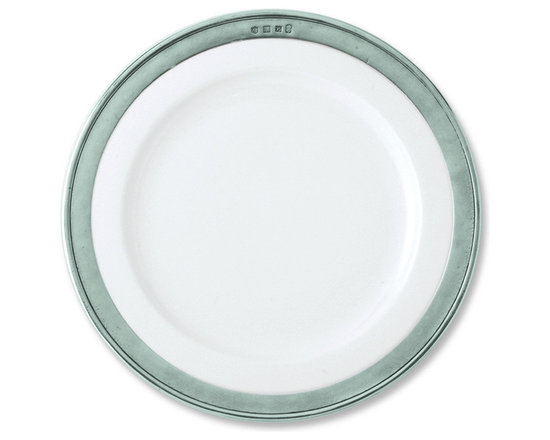 "Match - Match Convivio Dinner Plate- set of four - The Match Pewter Convivio dinner plate boasts an elegant combination of porcelain and pewter, making it ideal for traditional or modern settings. All Match Pewter dinnerware is lead free, food safe, and dishwasher safe at low temperatures. Measures 11"" in diameter."