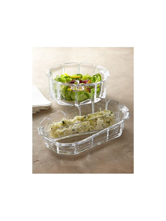 "Horchow - Regal Acrylic Divided Bowl - Mimicking the beauty of cut crystal but with the durability and practicality of acrylic, these elegant serving pieces go from the formal dining table to the outdoor patio with ease. Made of acrylic. Hand wash. Divided bowl, 13.5""W x 7.5""D x 3.5""T. L..."