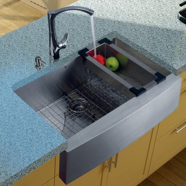 ... Single Farmhouse Stainless Steel Kitchen Sink Set modern-kitchen-sinks
