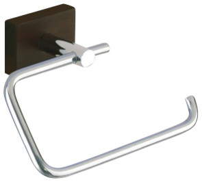 Chrome Toilet Roll Holder With Wood Base contemporary-toilet-paper-holders