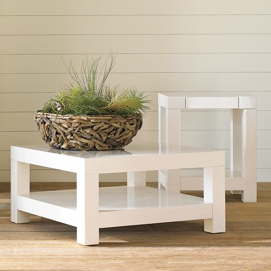 Parsons Coffee Table Polished White Modern Coffee Tables By West Elm