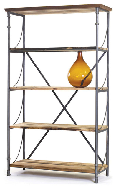 Watermill Reclaimed Wood and Steel Bookshelf traditional-bookcases