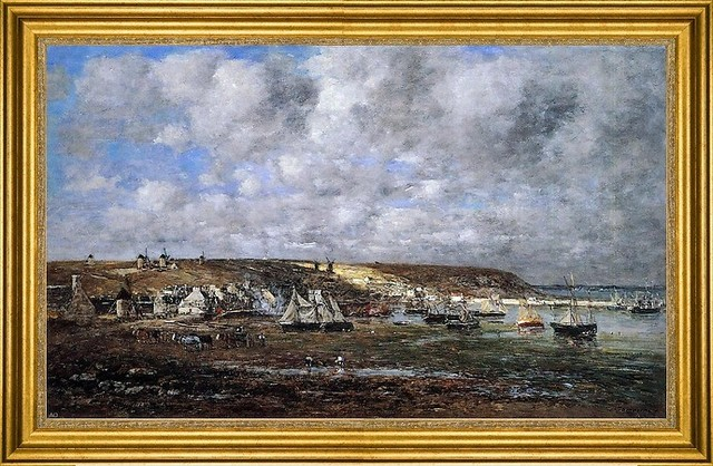 "Eugene-Louis Boudin-16""x24"" Framed Canvas traditional-artwork"