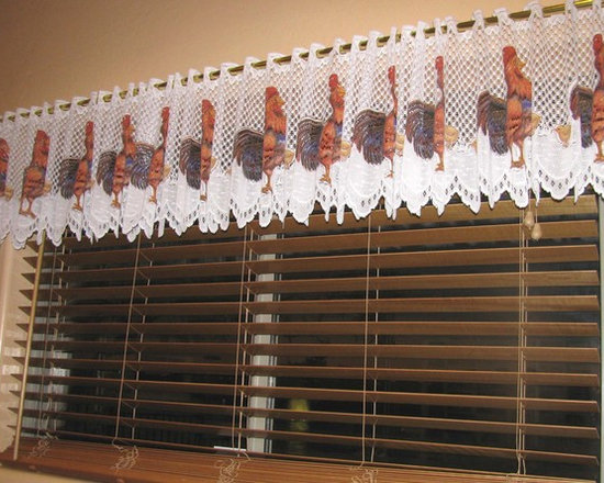 """Our Customers. - Kitchen window treatment sent to us by our customer Betty from Peoria AZ.  This is a 14 1/2 inch """"Rooster"""" Lace Valance that can be purchased by the yard as wide as necessary to fit any width window.  Washable 100% Poly."""