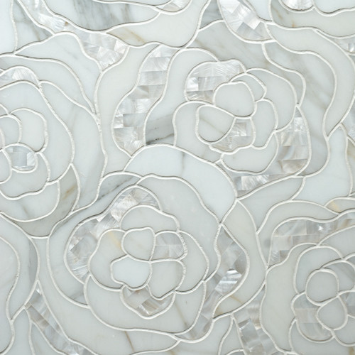 Chrysanthemum Calacatta Gold With Mother Of Pearl eclectic bathroom tile