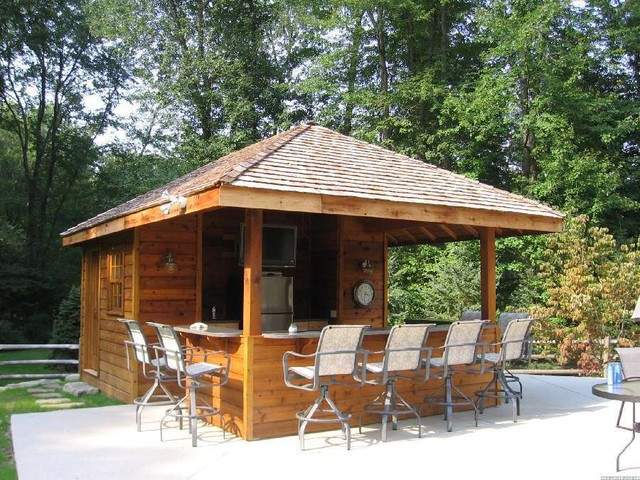 Pool house bar with for Diy pool house plans