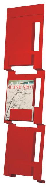 Blu Dot Wall Mount Magazine Rack, Fire Engine Red modern-magazine-racks
