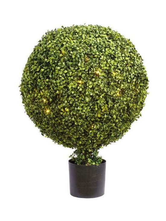 Artificial Outdoor Foliage - This artificial outdoor boxwood ball topiary has 200 LED lights neatly hidden within the foliage. Excellent for all season use and better when lighted for the holidays.