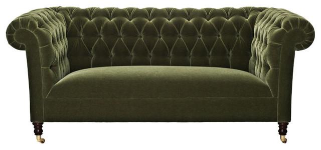 Green Velvet Chesterfield Sofa eclectic-sofas