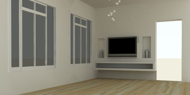 Plain Living Room With Tv