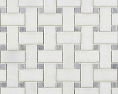 Blue Celeste Basketweave Stone Mosaic  - Ann Sacks Tile & Stone traditional bathroom tile