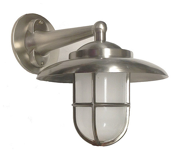 Hooded Led Wall Ground Light: Hooded Wall Light With Cage (Solid Brass / Interior