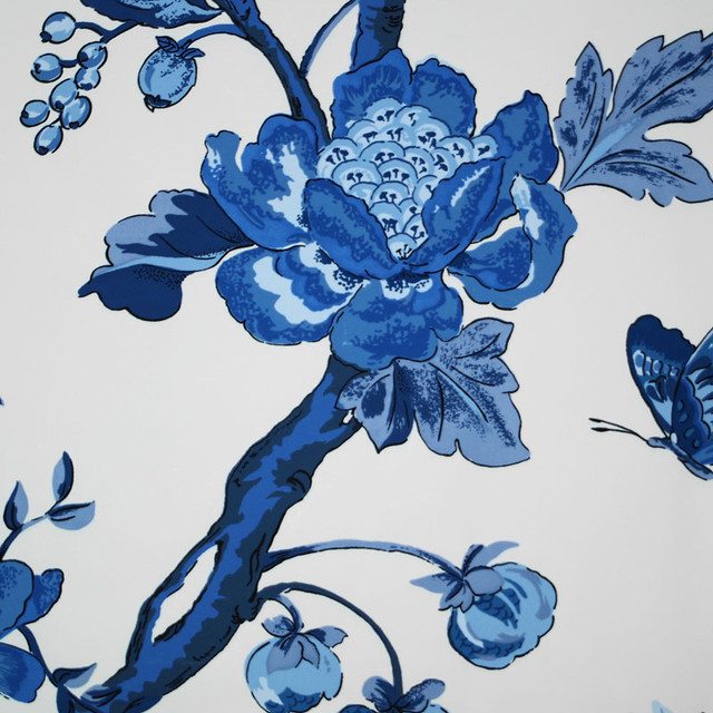 Bob Collins and Sons Blue and White Layla Wallpaper, Set of 2 Rolls eclectic-wallpaper