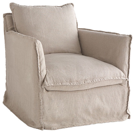 Natural Linen Coverall Arm Chair traditional-armchairs-and-accent-chairs