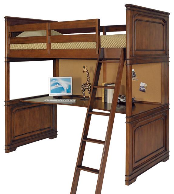 Lea Elite Classics Loft Bed With Desk In Brown Cherry