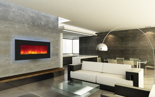 "Amantii Wall Mount or Built In Electric Fireplace 34"" Black Glass Surround contemporary-fireplaces"