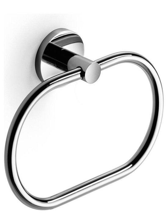 WS Bath Collections - Napie Bathroom Towel Ring in Polished Chrome - Made by Lineabeta of Italy. Product Material: Polished Chrome. Dimensions: 2.4 in. W x 8.7 in. L x 6.1 in. H