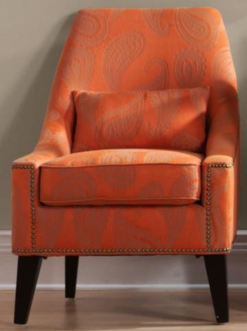 Hazelton Lounge Chair, Orange Paisley contemporary chairs