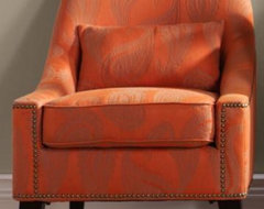 Hazelton Lounge Chair, Orange Paisley contemporary-living-room-chairs