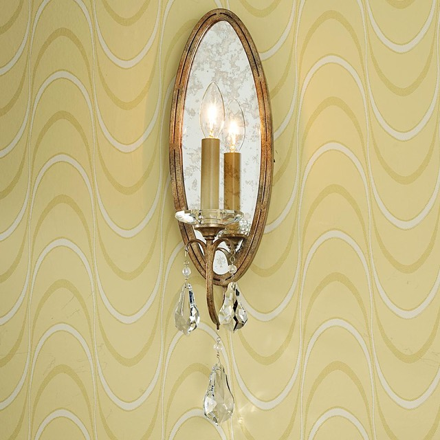 Oval Antiqued Mirror Back Sconce - Wall Sconces - by Shades of Light