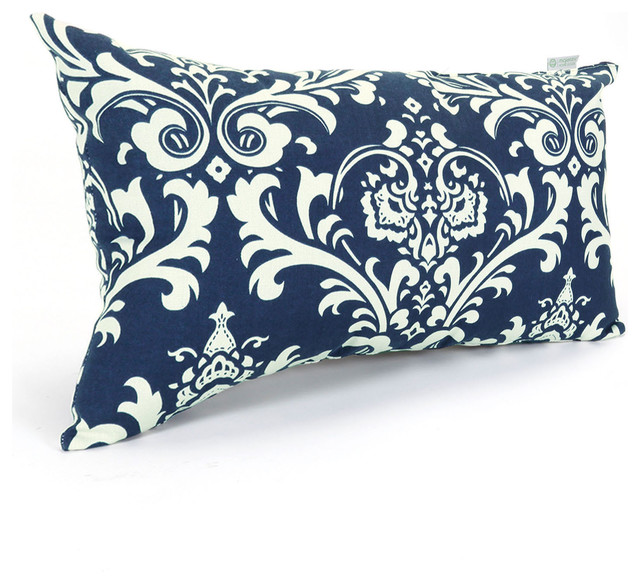 Modern Blue Outdoor Pillows : Outdoor Navy Blue French Quarter Small Pillow - Traditional - Outdoor Pillows - by Majestic Home ...