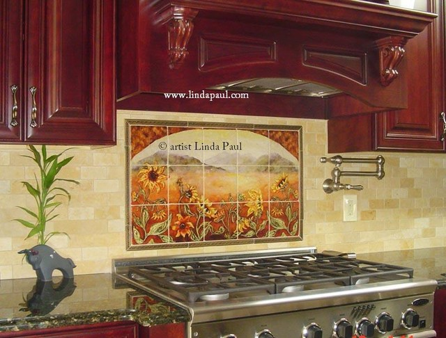 Sunflower kitchen backsplash tile mural contemporary for Backsplash tile mural