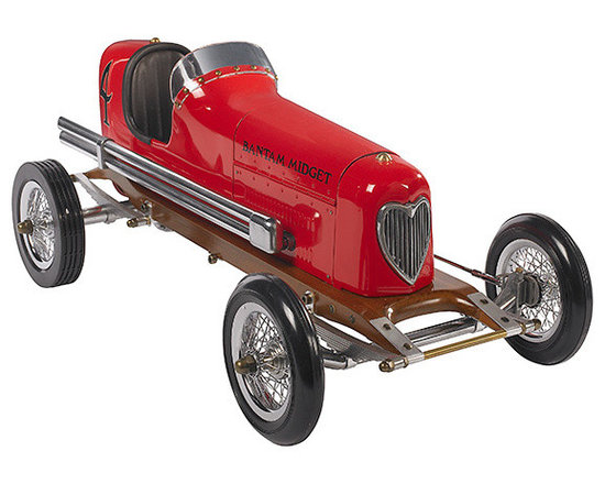 """Inviting Home - Red Bantam Midget Racecar Model - Bantam Midget racecar model 19"""" x 8-3/4"""" x 7-1/8""""H The 1930s saw the rise of hand built model racecars known as Spindizzies or tether cars. Miniature racecars built by hobbyists zoomed around banked wooden tracks at speeds approaching 150 miles per hour. Resembling the full-size racers of their day several Spindizzies competed at once tethered by cables to a central pole. Powered by model airplane engines spindizzies raced against the clock. Incredibly detailed and aerodynamic these miniature racecars were beyond toys; they were pieces of art representative of the best pioneering technology of the era. Constructed using original blueprints our Bantam Midget model resembles the original down to the smallest detail. One look and you'll be ready to join the competition."""