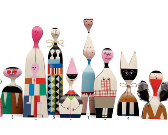 Alexander Girard Wooden Dolls - Any one of these charming wooden dolls by Alexander Girard would be a wonderful way to add color to a collection, whether perched on a book or two or displayed with pottery.