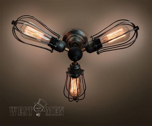 Vintage 3 lights industrial ceiling light steampunk ceiling lamp midcentury - Lustre industriel ikea ...