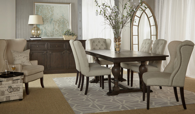 Astor Double Trestle Extension Dining Table transitional