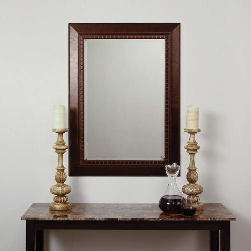 Lighten up a dim hallway or bathroom with the Antiqued Copper & Bronze Mirror. T traditional-mirrors