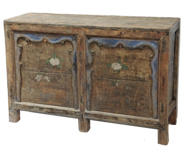 Consigned - Antique Medium Cabinet/Media Console With Original Paint - Rustic - Storage Cabinets ...