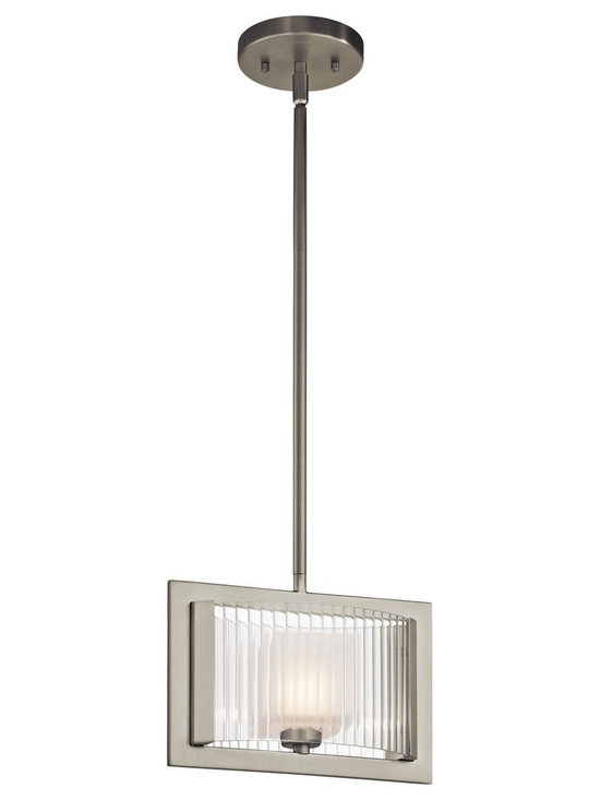 Kichler Lighting - Brushed Nickel Rigate 3-Bulb Indoor Pendant with Rectangular Glass Shade - Kichler 43145 Rigate Mini Pendant This 1 light halogen mini pendant from the Rigate collection pays homage to the clean layers and linear forms found throughout modern architecture. The light, Brushed Nickel finish will highlight any space, yet the real showstopper is the glass detailing. Inner Satin Etched Glass cubes filter the light while outer Ribbed Clear Glass gives this design definition and form.