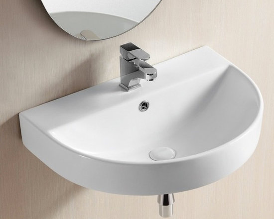 "Caracalla - Round Contemporary Vessel or Wall Mounted White Ceramic Sink - Contemporary style white ceramic sink designed in Italy by Caracalla. Single faucet hole vessel or wall mounted bathroom sink with rounded, half-circle front. Includes overflow. Sink dimensions: 23.23"" (width), 6.89"" (height), 17.13"" (depth)"