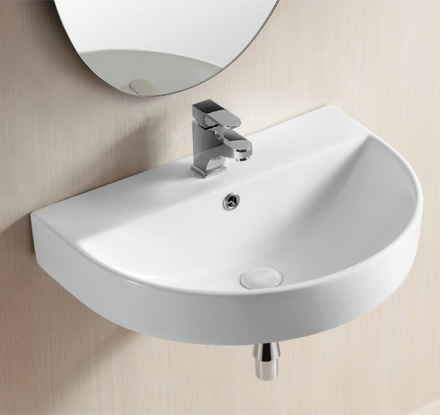 Mounted Bathroom Sink : ... Vessel or Wall Mounted White Ceramic Sink contemporary-bathroom-sinks