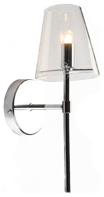 Chrome Wall Light With Glass Shade : Modern Chrome and Clear Glass Shade Wall Sconce - Modern - Wall Sconces - new orleans - by PHX ...