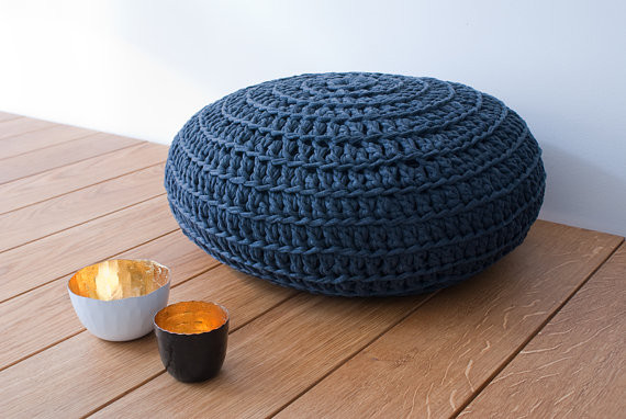 Dark Gray Pouf by Nanahome eclectic-footstools-and-ottomans