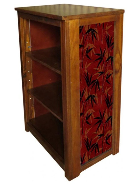 Kelseys Collection - Book cabinet 3 shelf Bamboo Leaves - Book Cabinet of solid radiata pine features three adjustable  storage shelves with two  prints on the side panels, showcasing a bamboo design wallpaper.   Dimensions are 33BY22BY12 Net weight 20 pounds. Three adjustable shelves. Estimated assembly time 20 minutes.