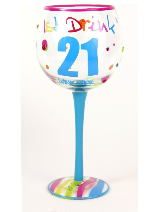 Hand Painted Milestone 21st Birthday Wine Glass, Holds 18 Oz - In A Gift Box - Hand Painted Milestone Glasses will make your birthday celebration special and chic !