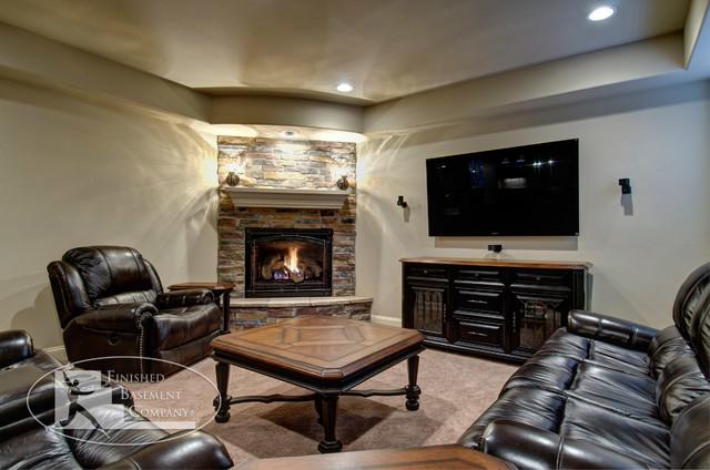 Basement TV Wall Fireplace Traditional Basement Denver By Finis