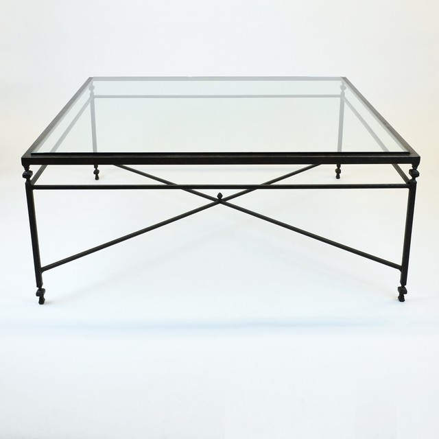 Huge Square Coffee Table With X Design Iron Base & Glass