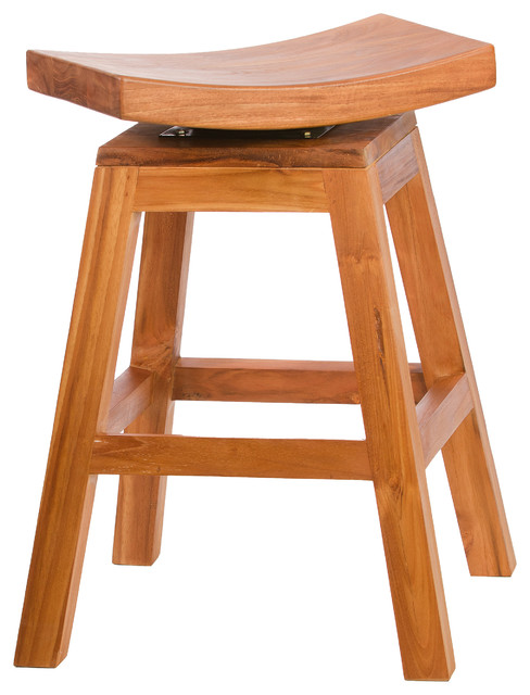 24 inch Counter High Stool in Solid Teak with Swivel Seat  : contemporary bar stools and counter stools from www.houzz.com size 488 x 640 jpeg 64kB