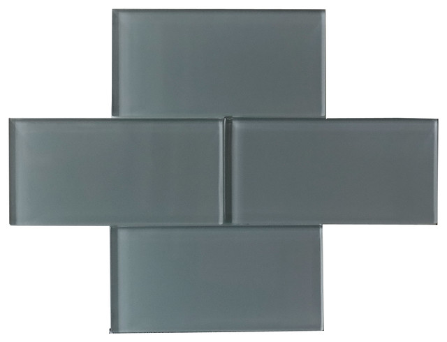 "Ocean Grey Color Glossy Subway Glass Tile 3""x6"" modern-tile"