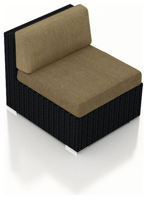 Urbana Wicker Outdoor Middle Section, Heather Beige Cushions contemporary-outdoor-lounge-chairs