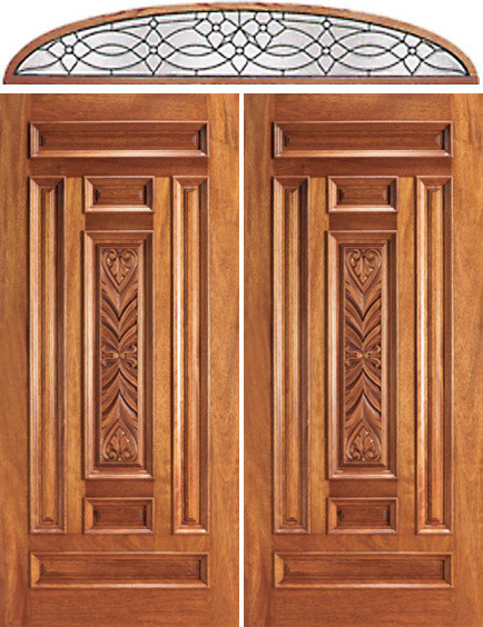 Pre-hung Entry Mahogany Carved 7 Panel Double Door Transom - Traditional - Front Doors - tampa ...
