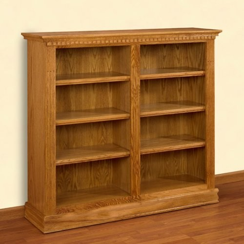 A Amp E Britannia Double Wide 48 Inch Oak Bookcase