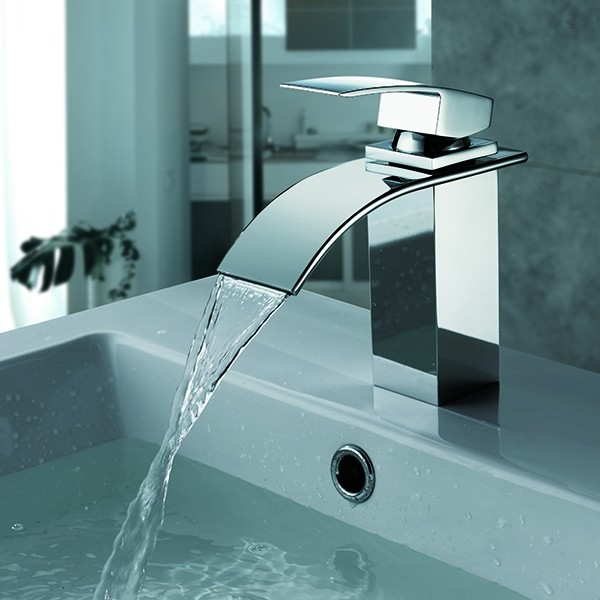 Brushed Nickle Waterfall Basin Faucet for Bathroom Silver modern-bathroom-faucets