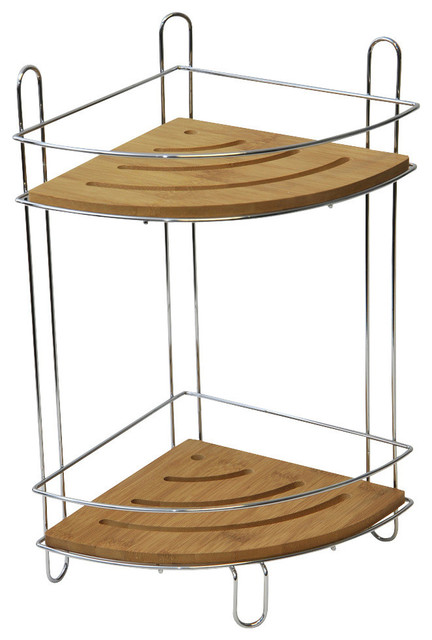 Free Standing Shower Corner Caddy Bamboo Shelves Chrome Contemporary Shower Caddies By Evideco
