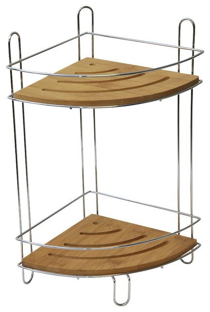 free standing shower corner caddy bamboo shelves chrome. Black Bedroom Furniture Sets. Home Design Ideas